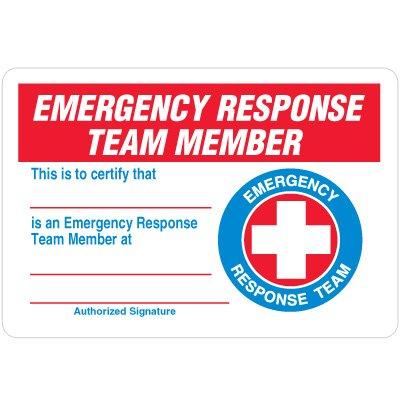 Certification Wallet Cards - Emergency Response Team Member