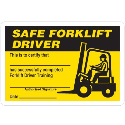 Certification Wallet Cards - Safe Forklift Driver