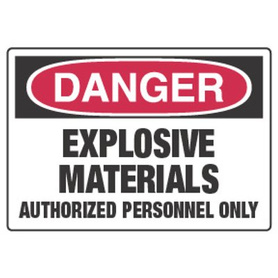Chemical Hazard Danger Sign - Explosive Materials