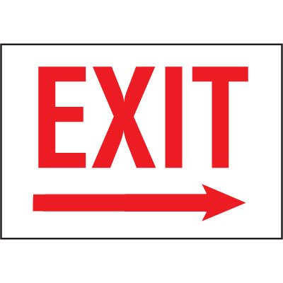 Cold Adhesion Safety Labels - Exit (W/ Right Arrow)