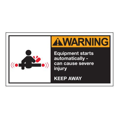 Conveyor Safety Labels - Warning Equipment Starts Automatically