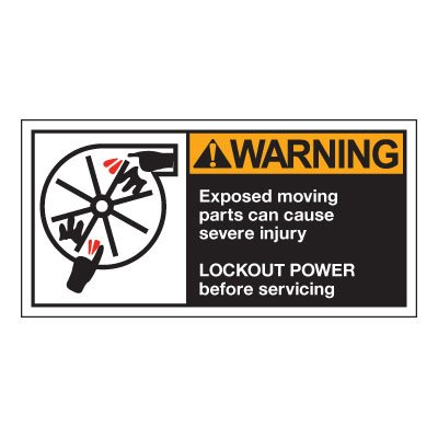 Conveyor Safety Labels - Warning Exposed Moving Parts