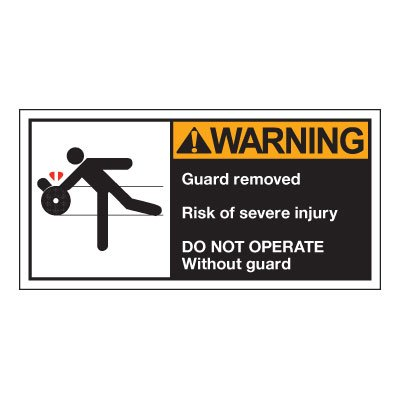 Conveyor Safety Labels - Warning Guard Removed