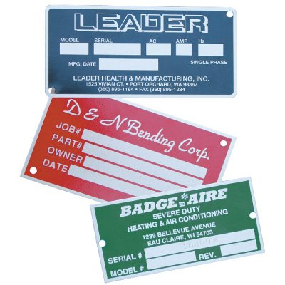 Custom Screen-Printed Aluminum Nameplates
