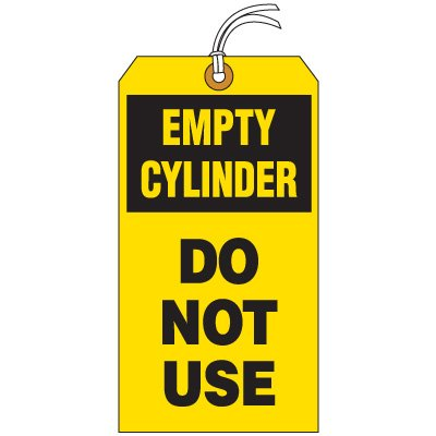 Empty Cylinder Do Not Use Tag