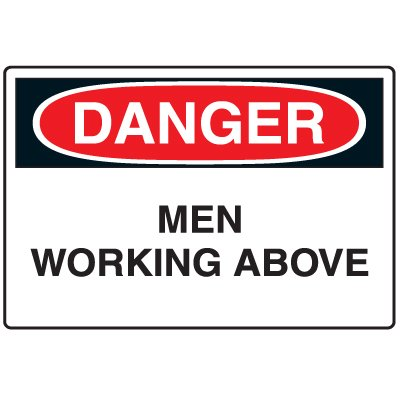 Disposable Plastic Corrugated Signs - Danger Men Working Above