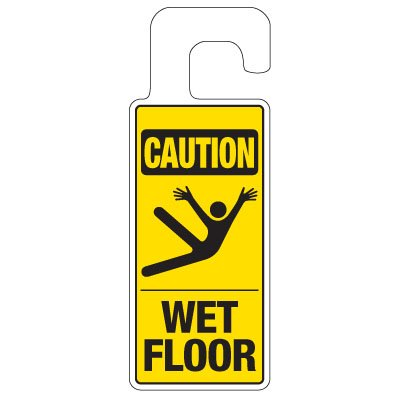 Door Knob Hangers - Caution Wet Floor