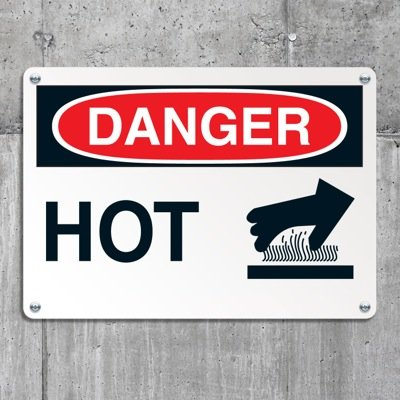 Equipment Hazard Mini Safety Signs - Danger Hot