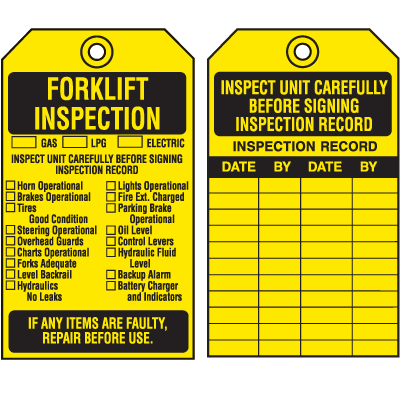 Equipment Inspection Tags - Forklift Inspection (2-Sided)