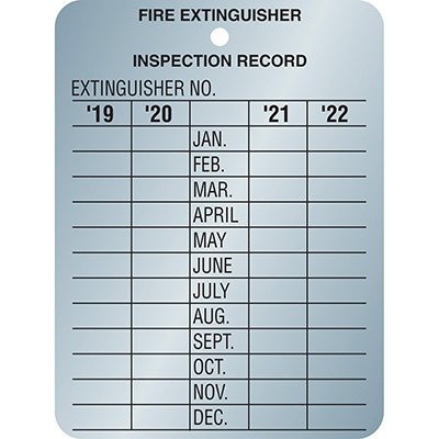 Fire Extinguisher Metal Inspection Tag - Four Year Validation