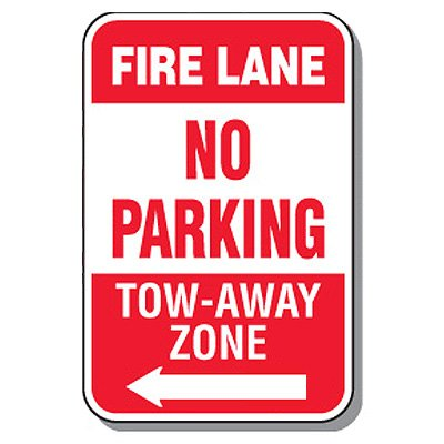 Fire Lane Signs - Fire Lane No Parking (Left Arrow)