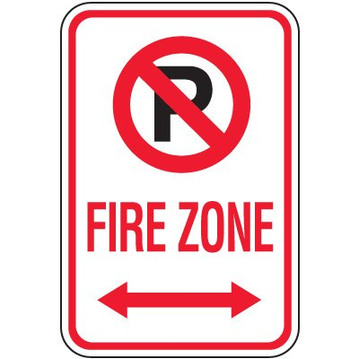 Fire Lane Signs - Fire Zone (Double Arrow)
