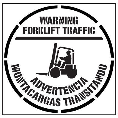 Pavement Tool Floor Stencils - Warning Forklift Traffic Advertencia Montacargas Transitando S-5516 D