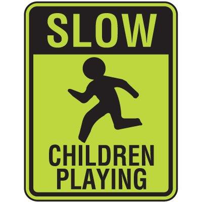 Fluorescent Pedestrian Signs - Slow Children Playing