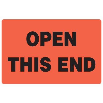 Fluorescent Warehouse & Pallet Labels - Open This End