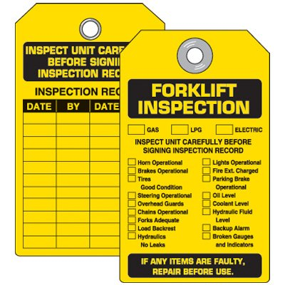 Forklift Equipment Inspection Tag
