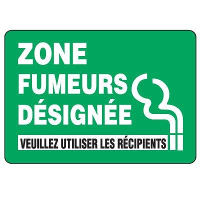 Enseignes de Sécurité - Zone Fumeurs Designee