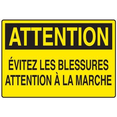 Enseignes de Sécurité - Attention Évitez Les Blessures Attention À La Marche