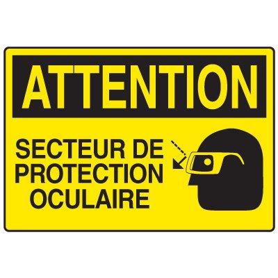 Enseignes de Securite - Attention Secteur De Protection Ocluaire