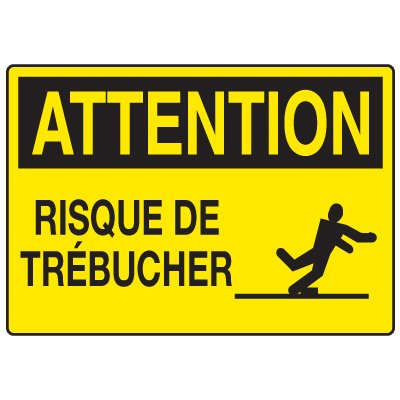 Enseignes de Sécurité - Attention Risque De Trebucher