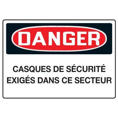 Enseignes de Sécurité - Danger Casques De Sécurité Exigés Dans Ce Secteur