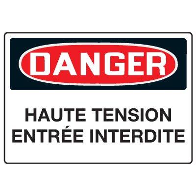 Enseignes de Sécurité - Danger Haute Tension Entrée Interdit