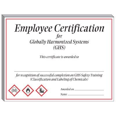 GHS Training Certificate - Employee Certification