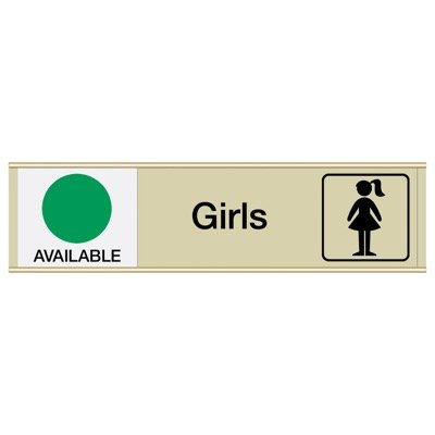 Girls Available/In Use - Engraved Restroom Sliders
