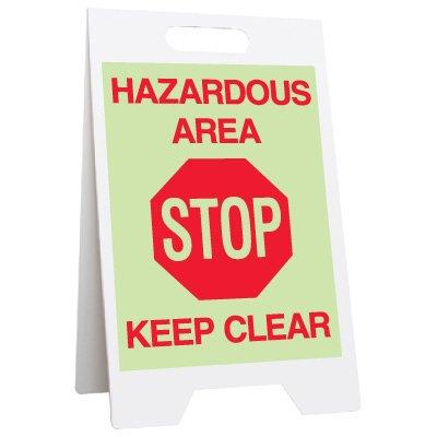 Glow Floor Stands - Hazardous Area Stop Keep Clear