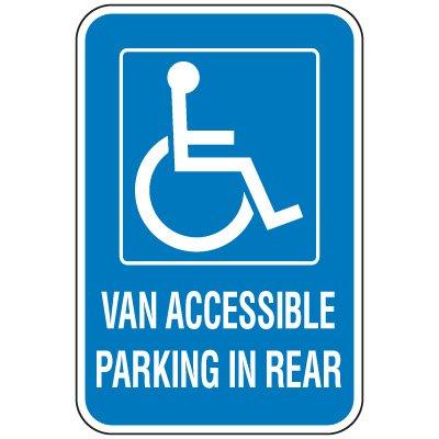 Handicap Parking Signs - Van Accessible Parking In Rear