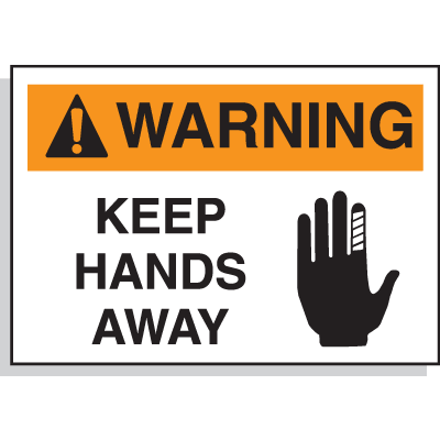 Hazard Warning Labels - Warning Keep Hands Away (With Graphic)