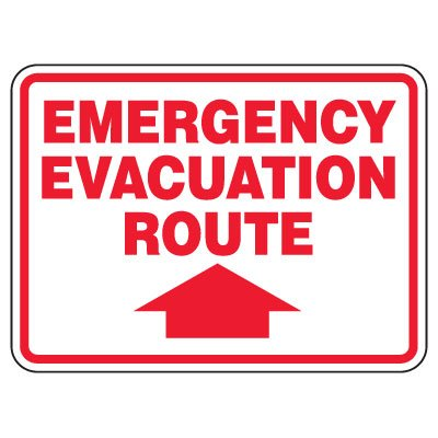Heavy-Duty Emergency Rescue & Evacuation Signs - Emergency Evacuation (with arrow up)