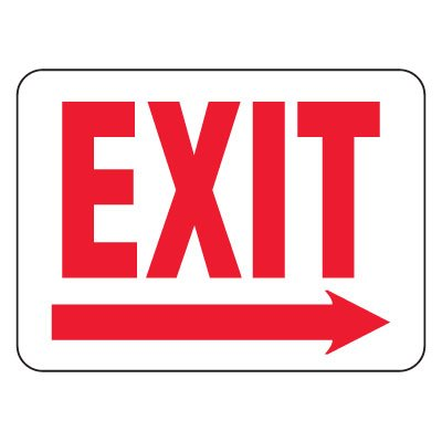 Heavy-Duty Emergency Rescue & Evacuation Signs - Exit with Right Arrow