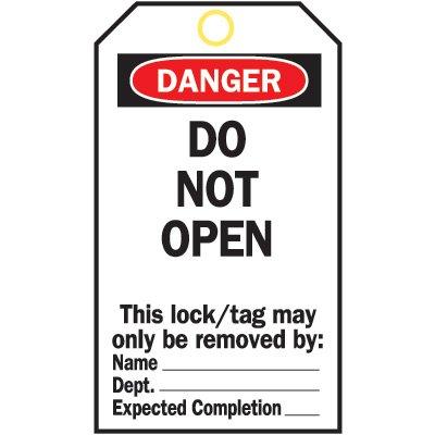 Heavy Duty Lockout Tags - Do Not Open