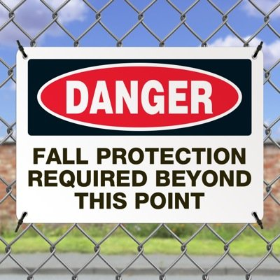 Mining Safety Signs - Danger Fall Protection Required