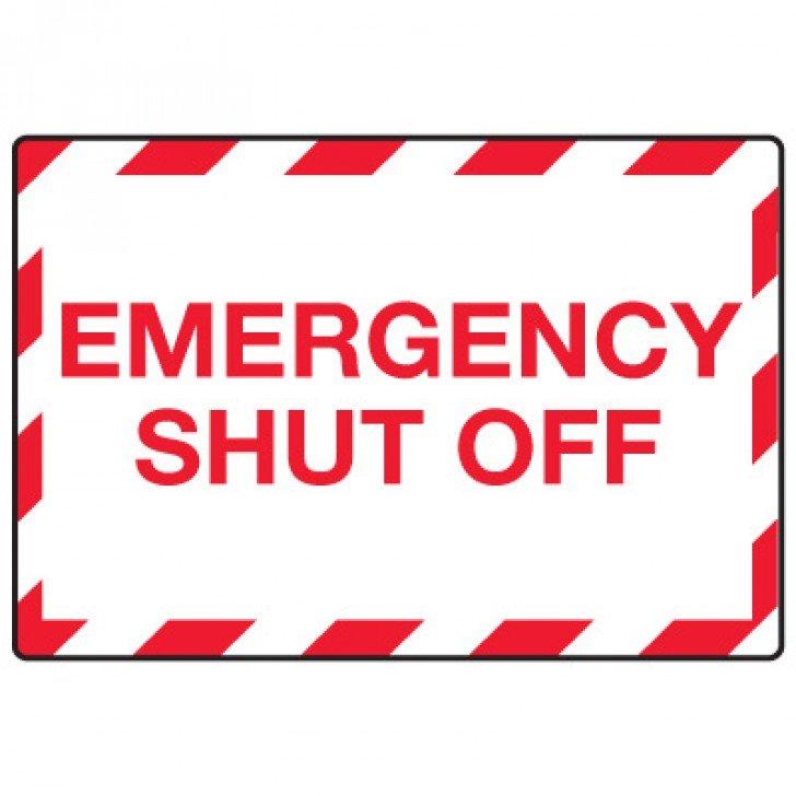 In Case of Emergency Signs - Emergency Shut Off