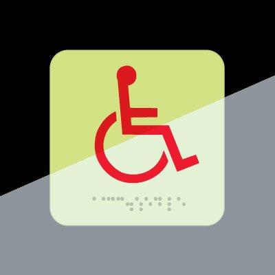 Wheelchair Symbol Signs - Braille Glow-In-The-Dark Signs