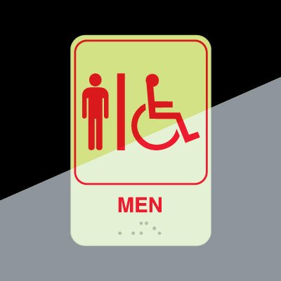 Mens Restroom Signs - Braille Glow-In-Dark Signs