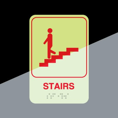 Stairs Sign -Braille Glow-In-The-Dark Signs
