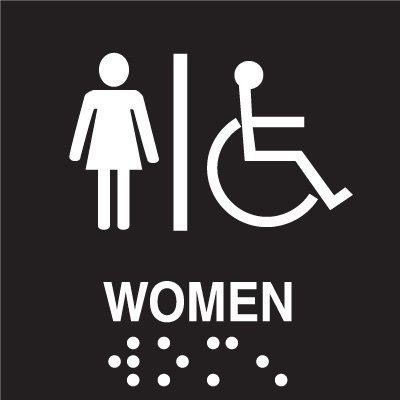 Womens Restroom Braille Signs-Injection Molded Signs