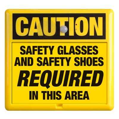 Interactive Sign Insert - Safety Glasses & Shoes Required