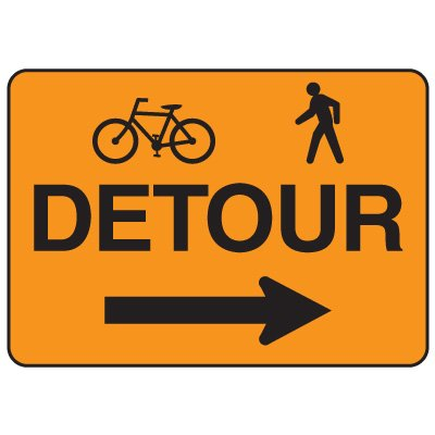 Jumbo Construction Signs - Detour (w/Graphic & Arrow Right)