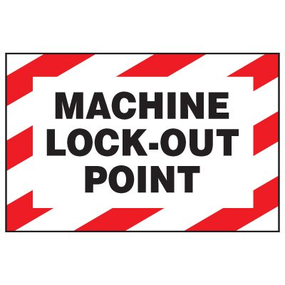 Lockout Hazard Warning Labels - Machine Lock-Out Point