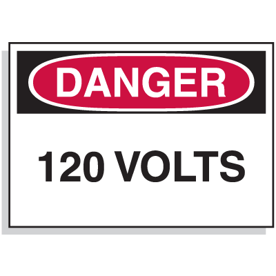 Lockout Hazard Warning Labels- Danger 120 Volts