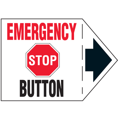Machine Safety Arrow Labels - Emergency Stop Button