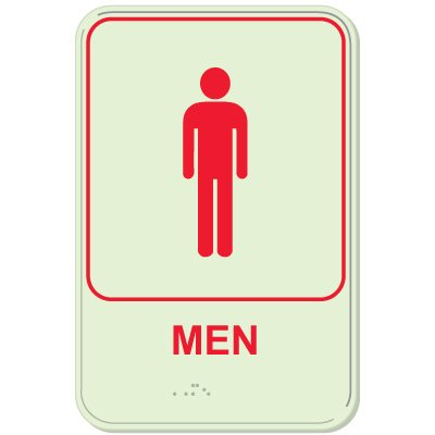 Men - Glo-Brite® ADA Braille Signs