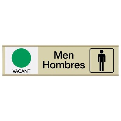 Men Vacant/Occupied - Bilingual Engraved Restroom Sliders