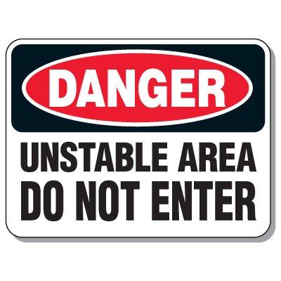 Giant Hazardous Work Zone Signs - Danger Unstable Area