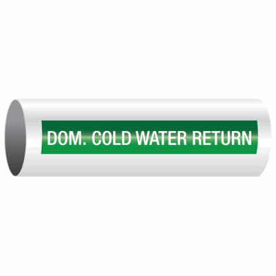 Opti-Code™ Self-Adhesive Pipe Markers - Dom. Cold Water Return