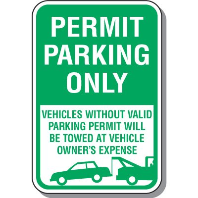Parking Permit Signs - Vehicles Without Valid Parking Permit (With Graphic)